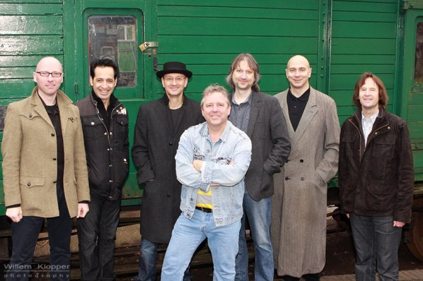 The members of Big Big Train with Dutch photographer, Willem Klopper.