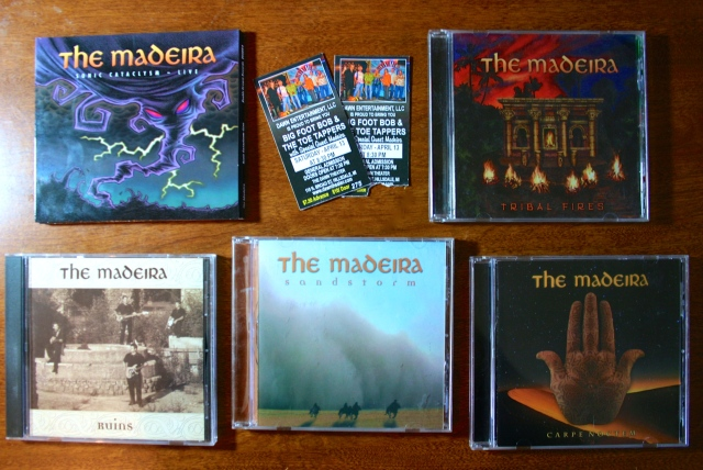 The five releases of The Madeira, the best surf band in the world.  Photo taken at Progarchy Allthing.