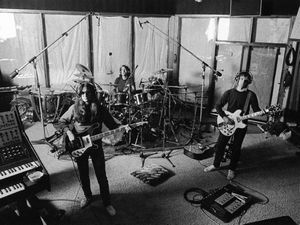 "Rush in Le Studio.  Image ""borrowed"" from www.rushisaband.com."